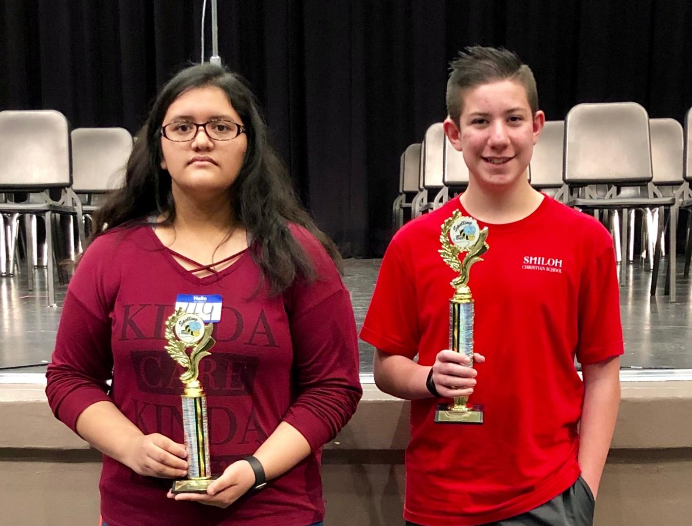 promo code 9f708 6744d Shiloh Christian School eighth grader Robby Batson, right, and Kate Sosa,  TMS 7th grader display their winner and runner-up trophies for being  Cherokee ...